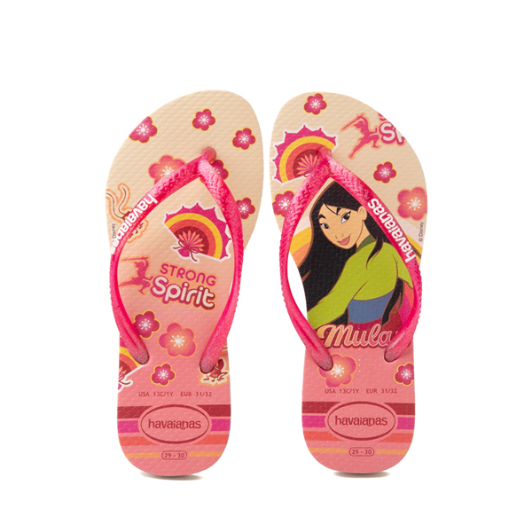 Main view of Havaianas Slim Princess Mulan Sandal - Toddler / Little Kid - Beige / Red