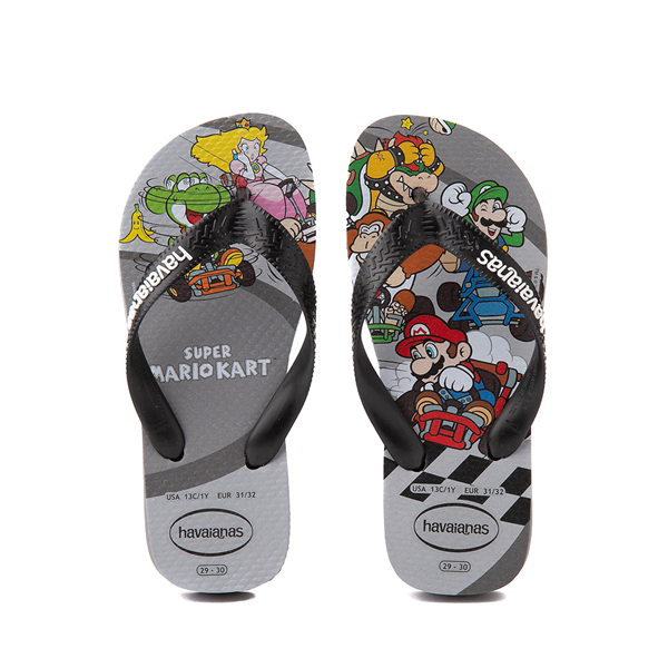 Main view of Havaianas Super Mario Kart Sandal - Toddler / Little Kid - Steel Gray