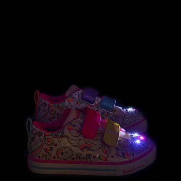alternate view Skechers Twinkle Toes Sparkle Lite Believe In Rainbows Sneaker - Toddler - White / MulticolorALT1