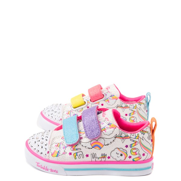 alternate view Skechers Twinkle Toes Sparkle Lite Believe In Rainbows Sneaker - Toddler - White / MulticolorALT1B