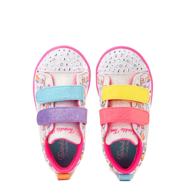 alternate view Skechers Twinkle Toes Sparkle Lite Believe In Rainbows Sneaker - Toddler - White / MulticolorALT2