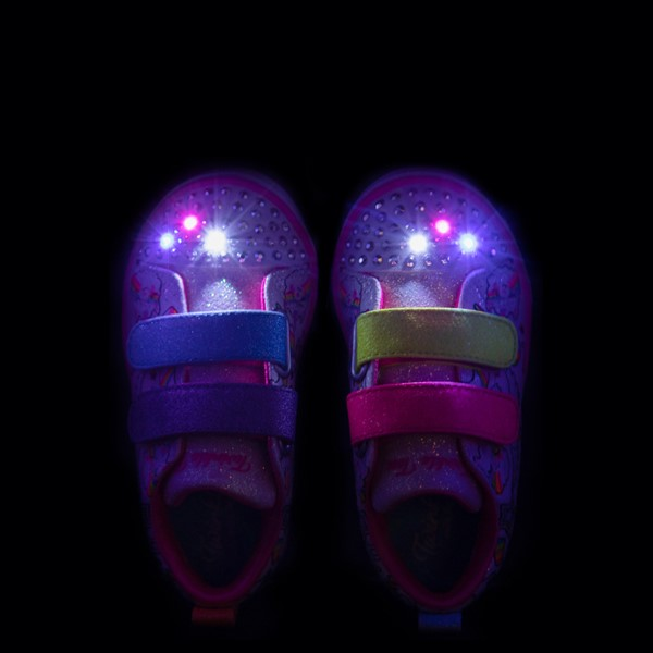 alternate view Skechers Twinkle Toes Sparkle Lite Believe In Rainbows Sneaker - Toddler - White / MulticolorALT2B