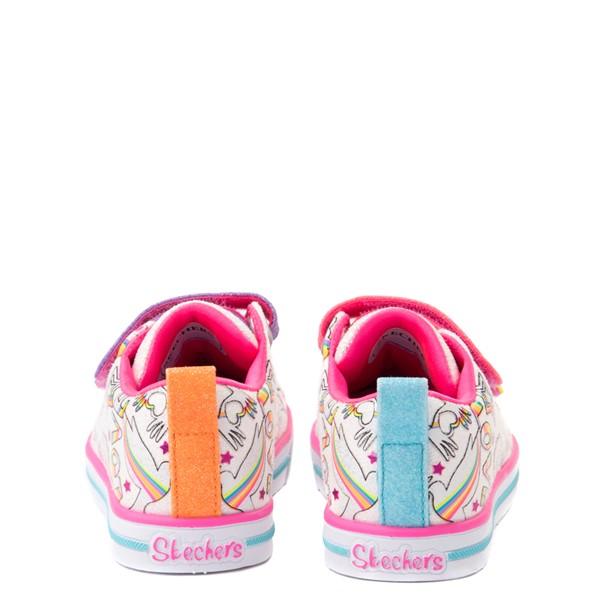 alternate view Skechers Twinkle Toes Sparkle Lite Believe In Rainbows Sneaker - Toddler - White / MulticolorALT4
