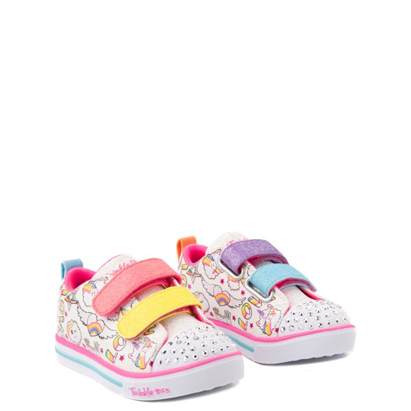 alternate view Skechers Twinkle Toes Sparkle Lite Believe In Rainbows Sneaker - Toddler - White / MulticolorALT5