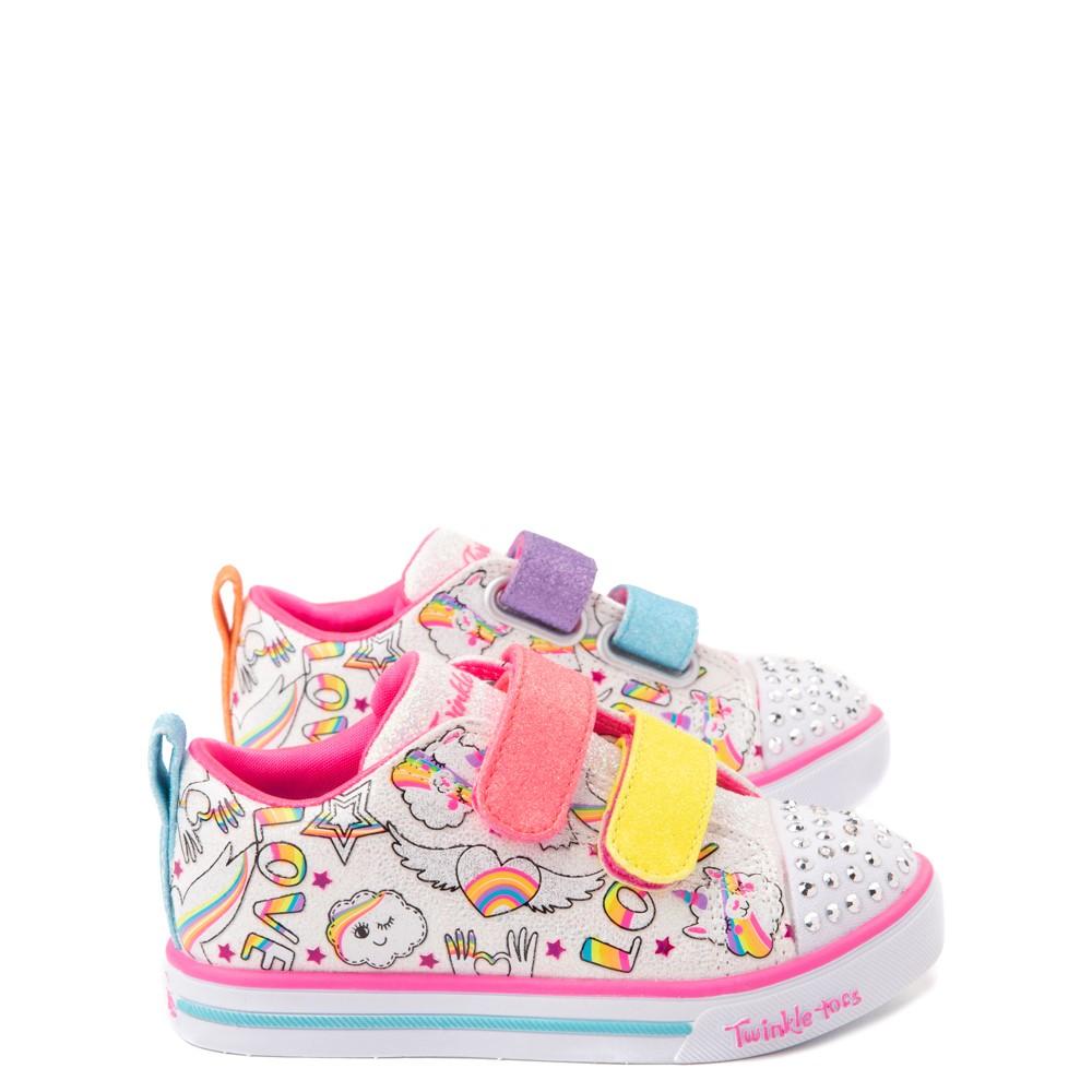 Skechers Twinkle Toes Sparkle Lite Believe In Rainbows Sneaker - Toddler - White / Multicolor