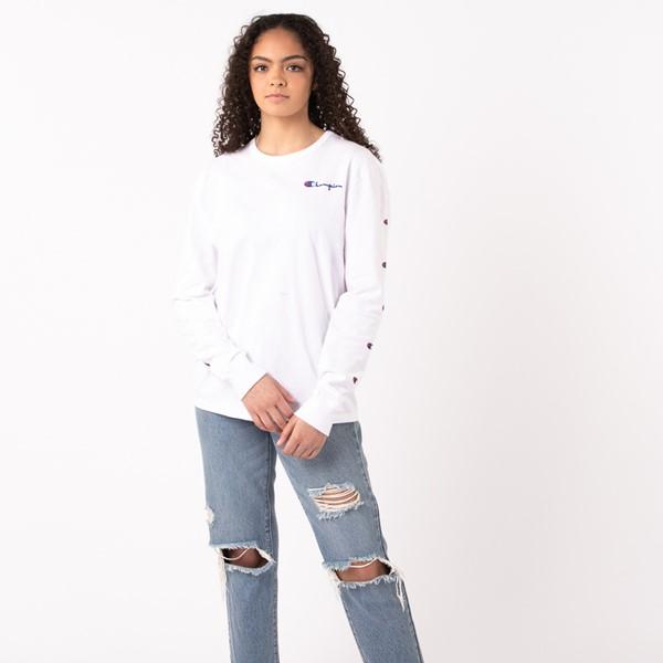 alternate view Womens Champion Prints Long Sleeve Boyfriend Tee - WhiteALT1