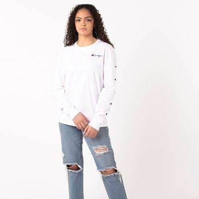 Alternate view of Womens Champion Prints Long Sleeve Boyfriend Tee - White