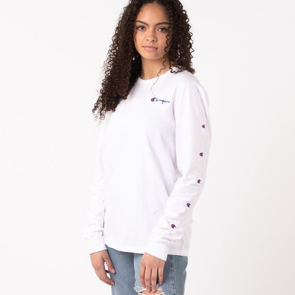 Womens Champion Prints Long Sleeve Boyfriend Tee - White