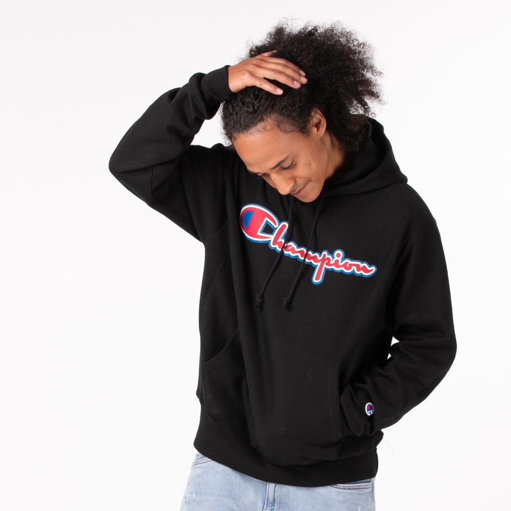 Mens Champion Reverse Weave Script Hoodie - Black