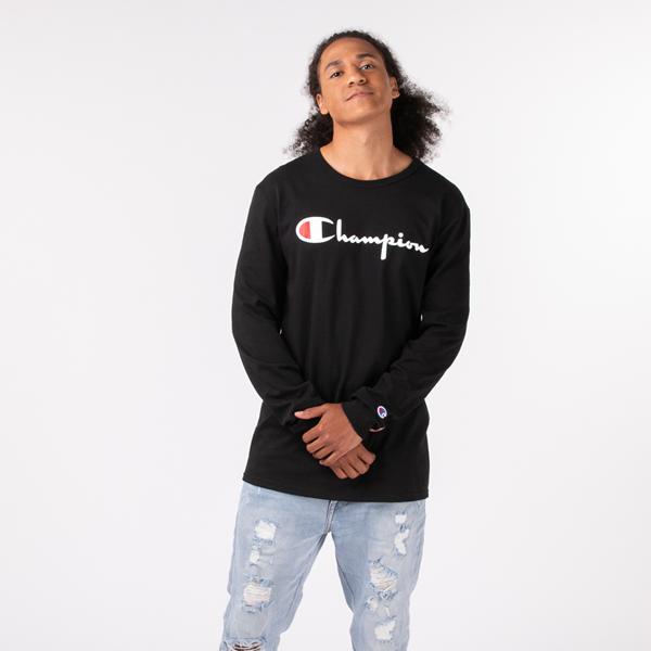 alternate view Mens Champion Heritage Long Sleeve Tee - BlackALT1
