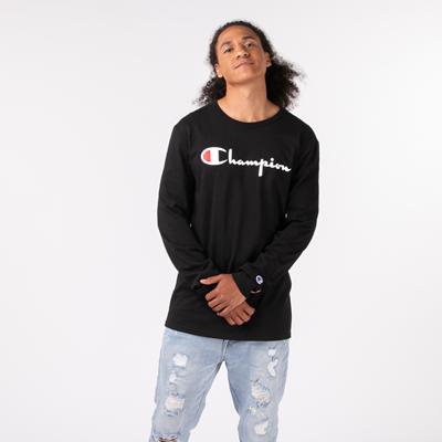 Alternate view of Mens Champion Heritage Long Sleeve Tee - Black