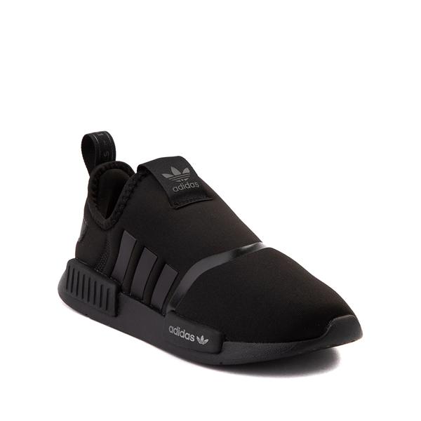 alternate view adidas NMD 360 Slip On Athletic Shoe - Little Kid - Black MonochromeALT5