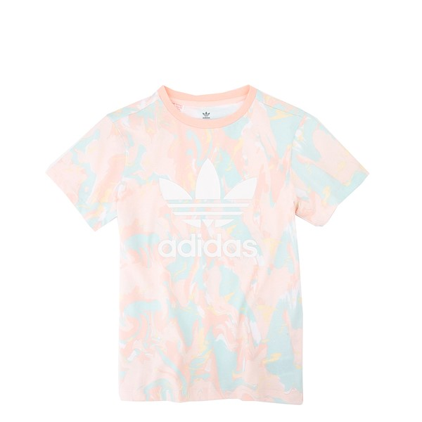 Main view of adidas Allover Print Marble Tee - Little Kid / Big Kid - Pink Tint / Multicolor