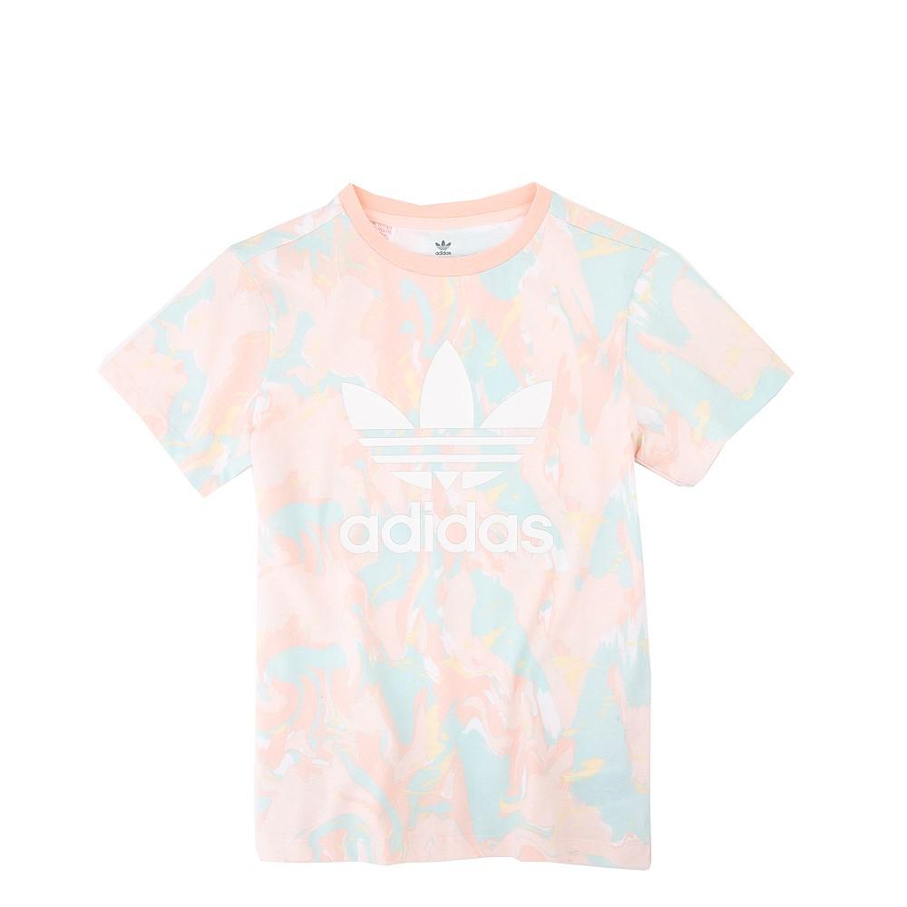 adidas Allover Print Marble Tee - Little Kid / Big Kid - Pink Tint / Multicolor
