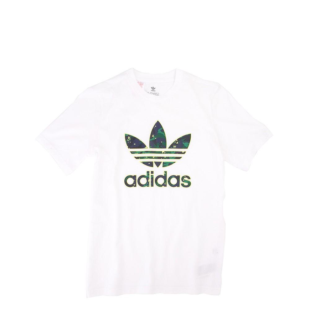 adidas Trefoil Tee - Little Kid / Big Kid - White / Camo