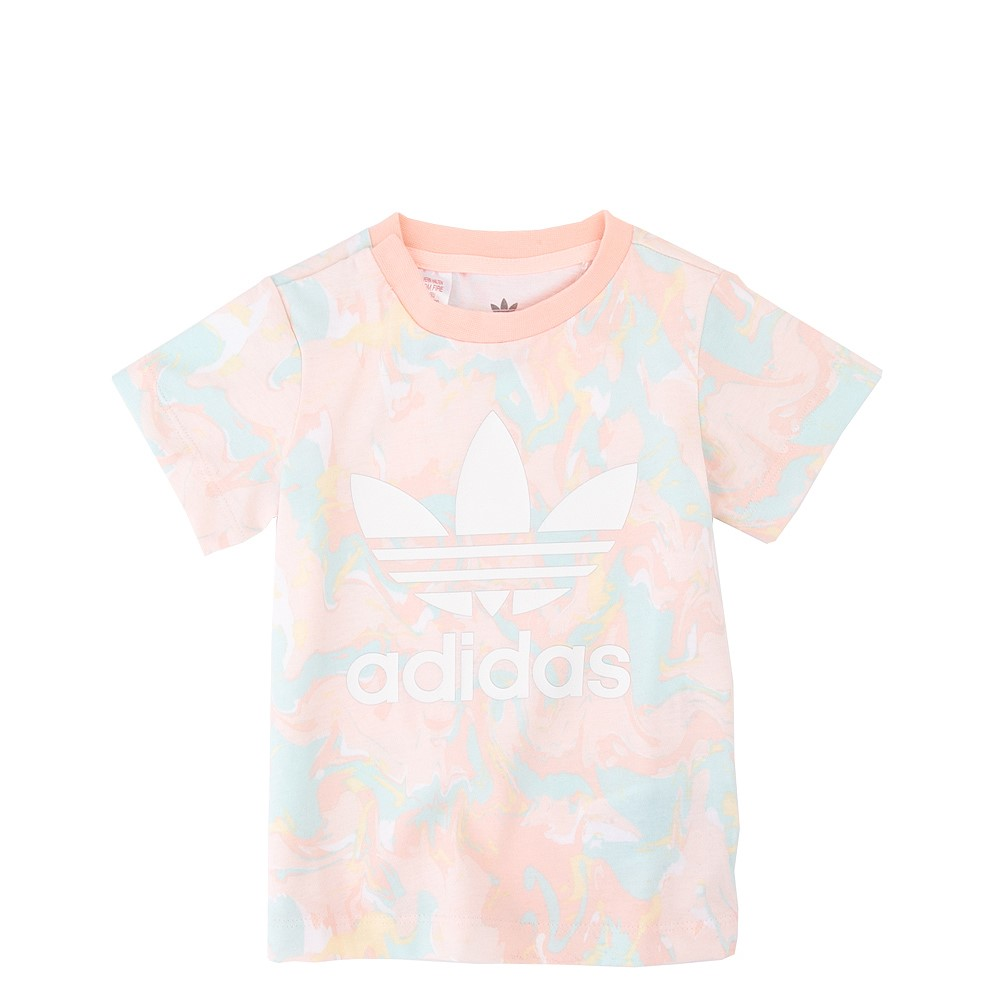 adidas Allover Print Marble Tee - Toddler - Pink Tint / Multicolor