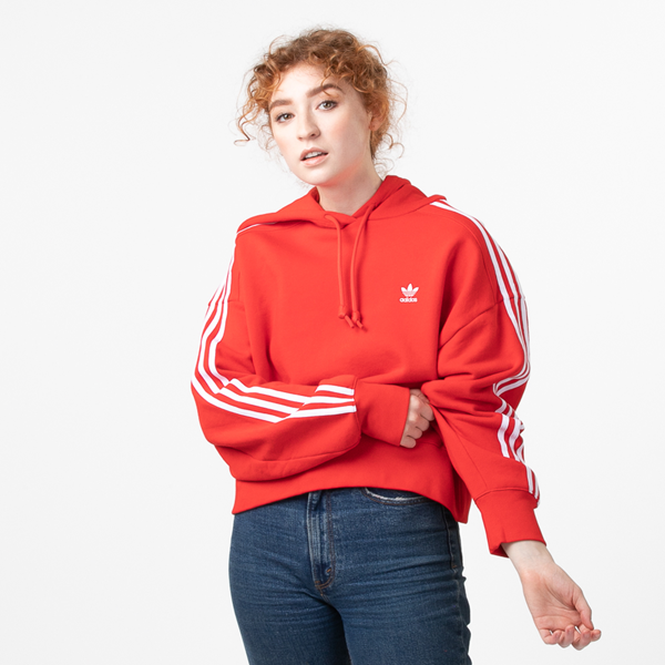 Main view of Womens adidas Adicolor Cropped Hoodie - Red