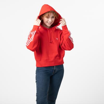 Alternate view of Womens adidas Adicolor Cropped Hoodie - Red
