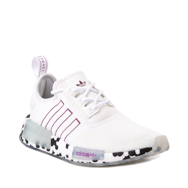 alternate view Womens adidas NMD R1 Speckle Athletic Shoe - White / Active PurpleALT5