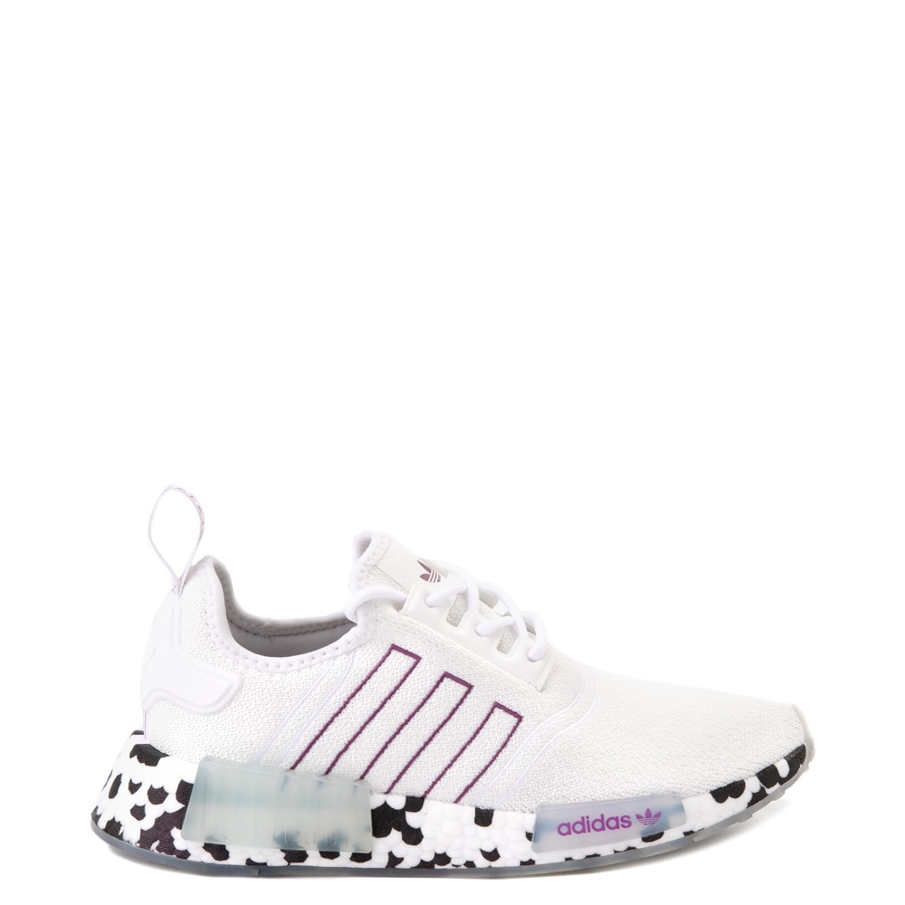 Womens adidas NMD R1 Speckle Athletic Shoe - White / Active Purple