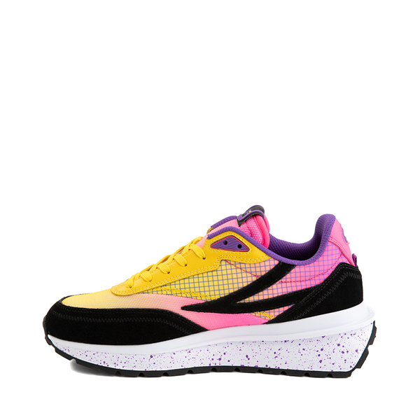 alternate view Womens Fila Renno Athletic Shoe - Black / Lemon / Knockout PinkALT1