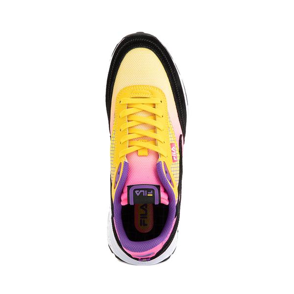 alternate view Womens Fila Renno Athletic Shoe - Black / Lemon / Knockout PinkALT2