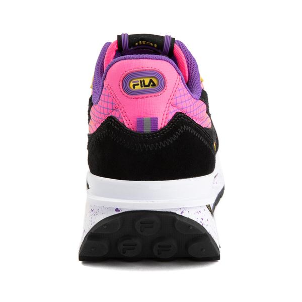 alternate view Womens Fila Renno Athletic Shoe - Black / Lemon / Knockout PinkALT4