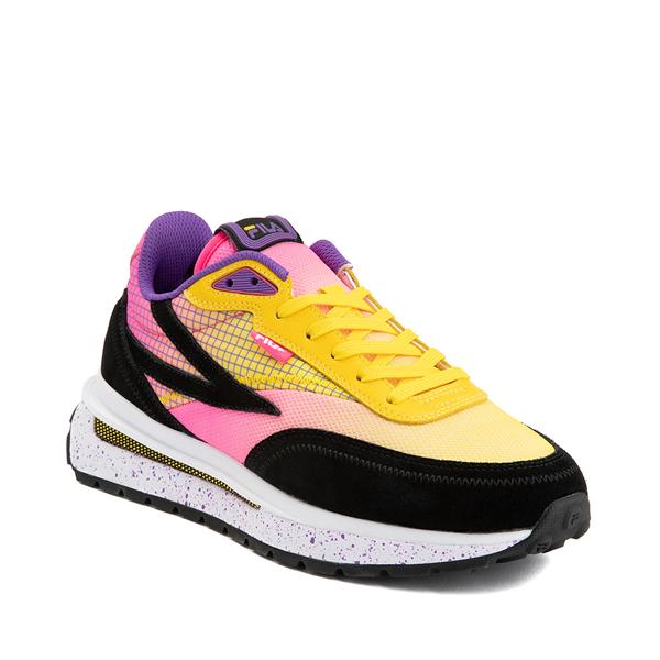 alternate view Womens Fila Renno Athletic Shoe - Black / Lemon / Knockout PinkALT5