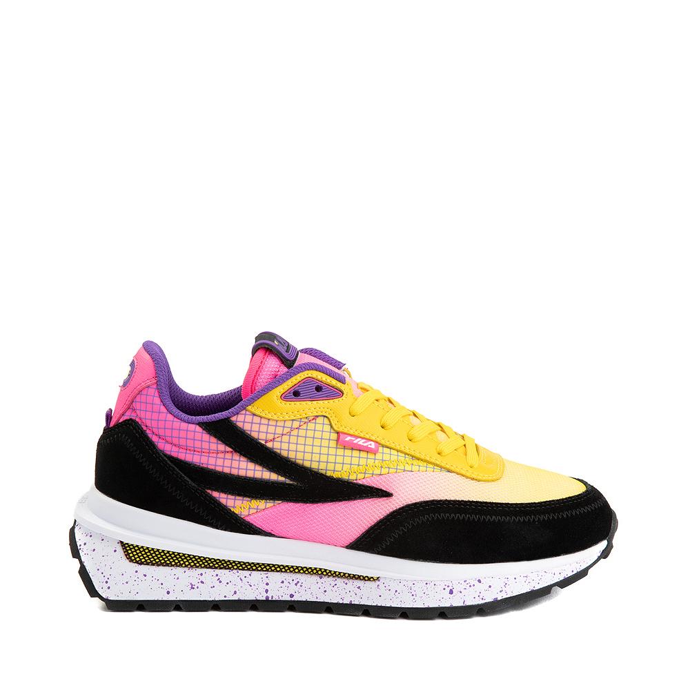 Womens Fila Renno Athletic Shoe - Black / Lemon / Knockout Pink