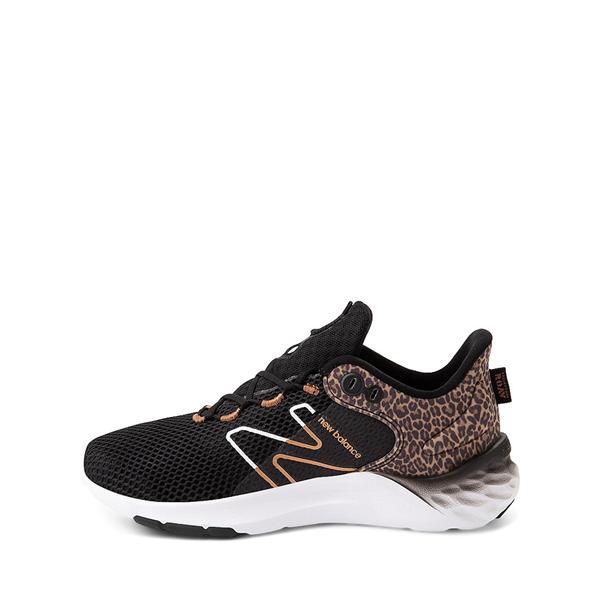 alternate view New Balance Fresh Foam Roav Athletic Shoe - Little Kid - Black / LeopardALT1