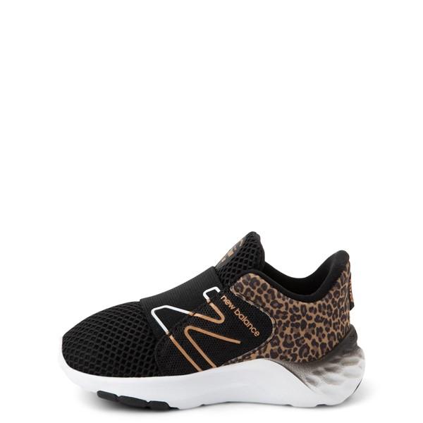 alternate view New Balance Fresh Foam Roav Slip On Athletic Shoe - Baby / Toddler - Black / LeopardALT1