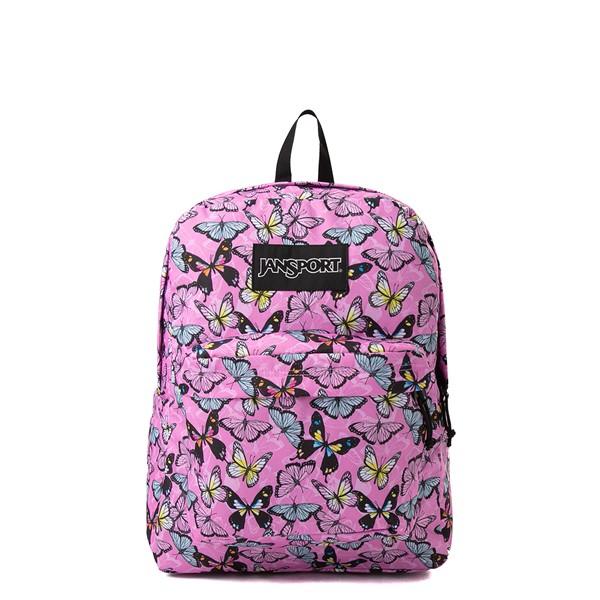 JanSport Superbreak Plus Backpack - Pink / Butterflies