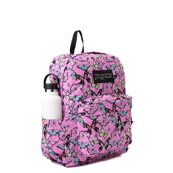 alternate view JanSport Superbreak Plus Backpack - Pink / ButterfliesALT4B