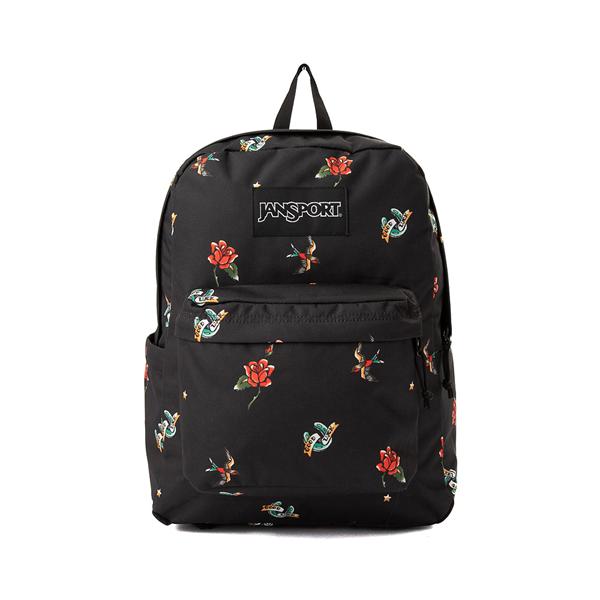 JanSport Superbreak Plus Backpack - Black / Tattoos