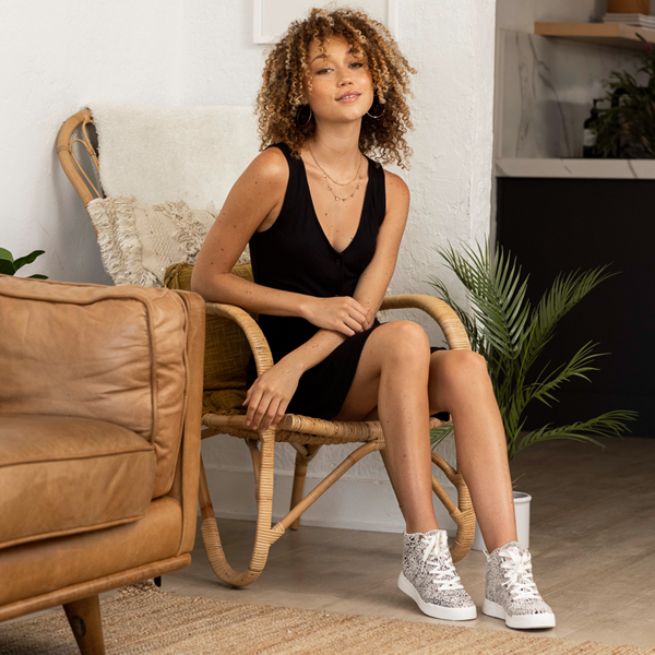 alternate view Womens Roxy Camy Hi Top Sneaker - White / Animal PrintALT1B