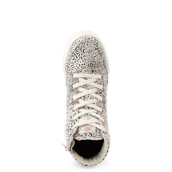 alternate view Womens Roxy Camy Hi Top Sneaker - White / Animal PrintALT2