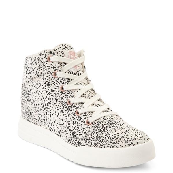 alternate view Womens Roxy Camy Hi Top Sneaker - White / Animal PrintALT5