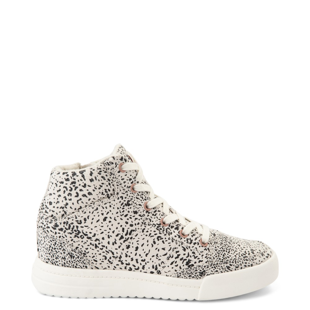 Womens Roxy Camy Hi Top Sneaker - White / Animal Print