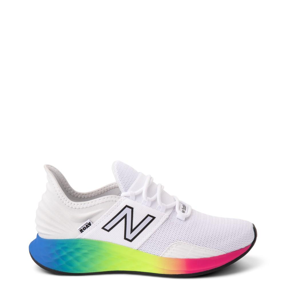 Womens New Balance Fresh Foam Roav Athletic Shoe - White / Rainbow