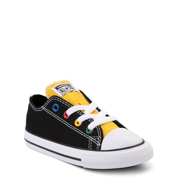 alternate view Converse Chuck Taylor All Star Lo Sneaker - Baby / Toddler - Black / MulticolorALT5