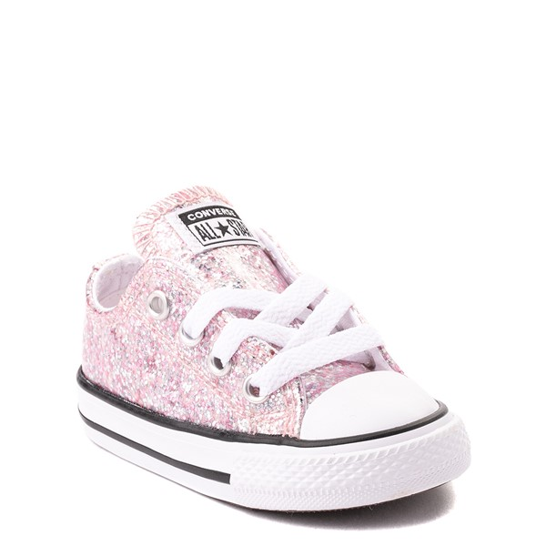 alternate view Converse Chuck Taylor All Star Lo Glitter Sneaker - Baby / Toddler - Pink FoamALT5