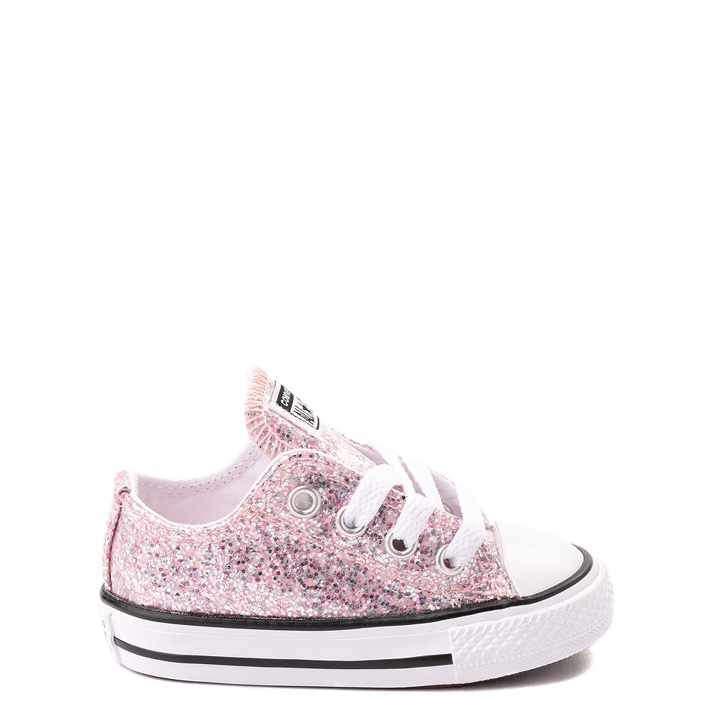 Converse Chuck Taylor All Star Lo Glitter Sneaker - Baby / Toddler - Pink Foam
