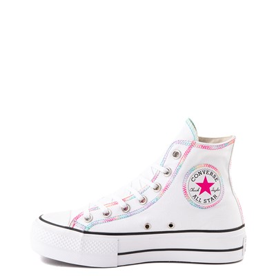 Alternate view of Womens Converse Chuck Taylor All Star Hi Lift Color-Pop Sneaker - White / Multicolor
