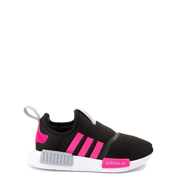 adidas NMD 360 Slip On Athletic Shoe - Little Kid - Core Black / Shock Pink / Halo Silver
