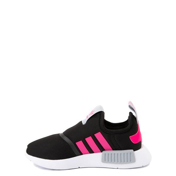 alternate view adidas NMD 360 Slip On Athletic Shoe - Little Kid - Core Black / Shock Pink / Halo SilverALT1