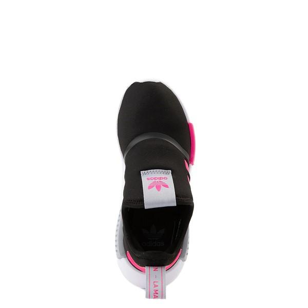 alternate view adidas NMD 360 Slip On Athletic Shoe - Little Kid - Core Black / Shock Pink / Halo SilverALT2