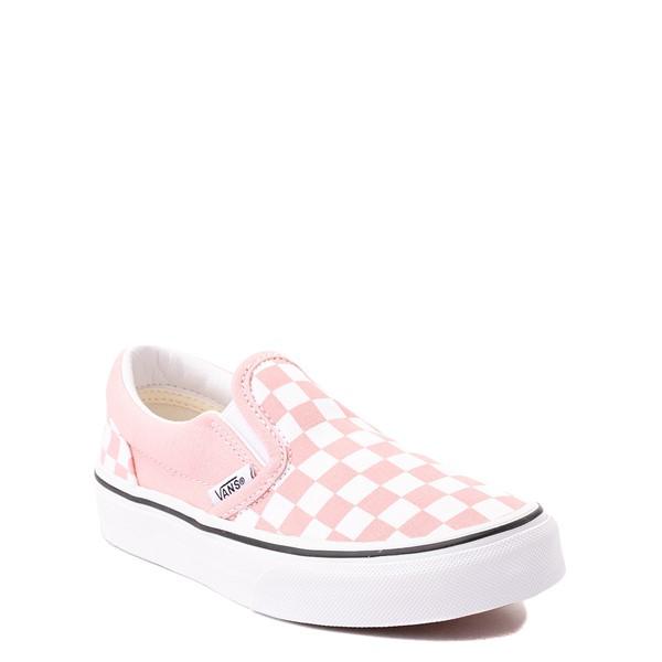 alternate view Vans Slip On Checkerboard Skate Shoe - Little Kid - Powder PinkALT5