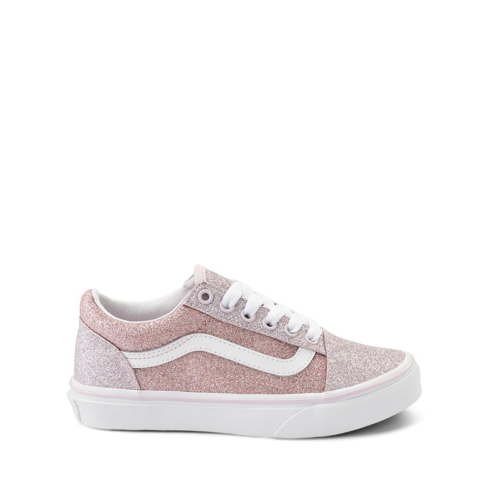 Vans Old Skool Glitter Skate Shoe - Big Kid - Orchid Ice / Powder Pink