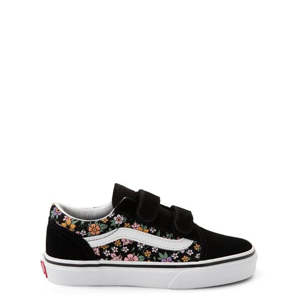 Vans Old Skool V Fun Floral Skate Shoe - Little Kid - Black