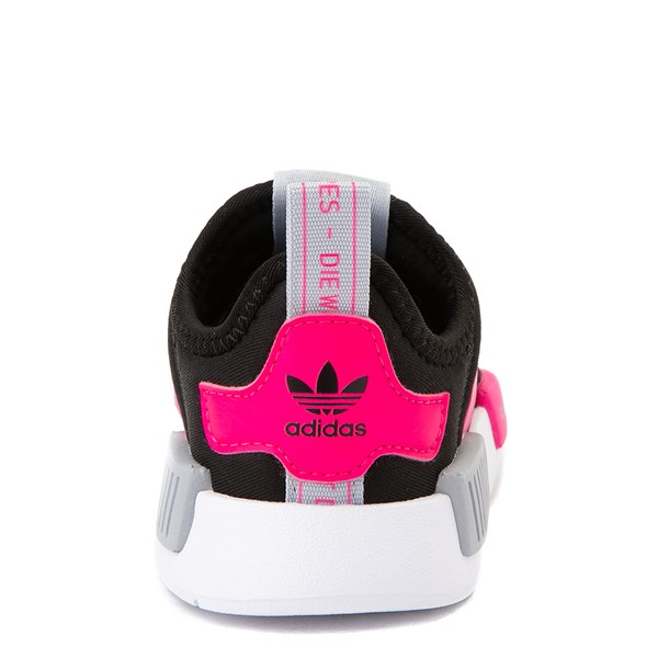 alternate view adidas NMD 360 Slip On Athletic Shoe - Baby / Toddler - Core Black / Shock Pink / Halo SilverALT4